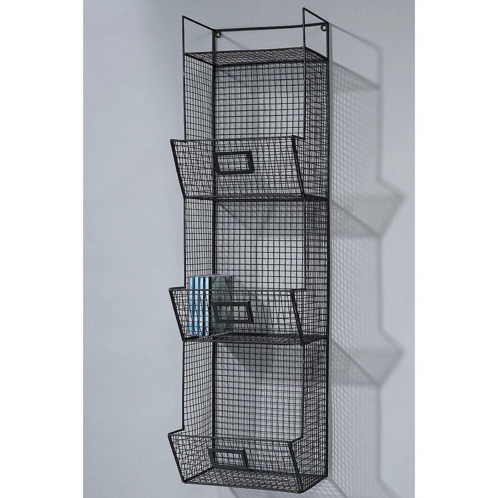 Badregal design wandregal wandkorb fach metall schwarz industriedesign