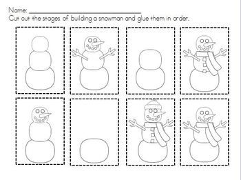 snowman sequencing building a snowman snowman therapy and school. Black Bedroom Furniture Sets. Home Design Ideas