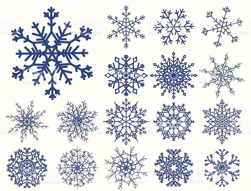 Set Mit Schneeflocken Isoliert Auf Weiss Tattoo