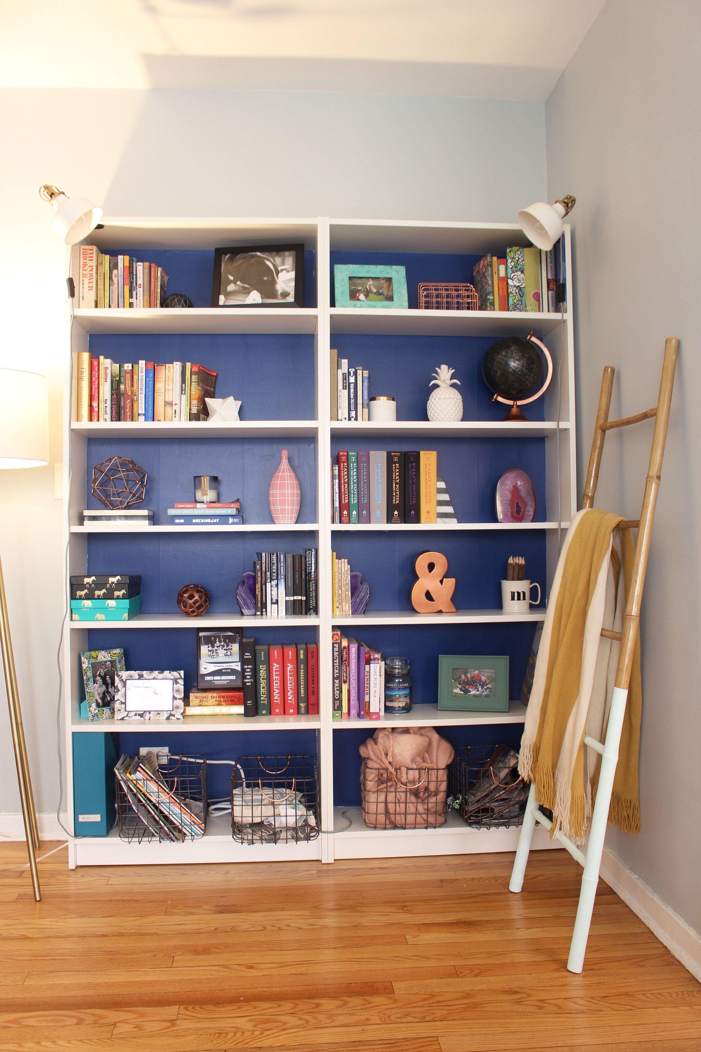 DIY Painted Bookcase Nische Im Wohnzimmer