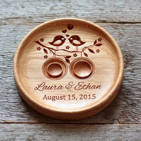 Handmade Custom Wood Wedding Ring Holder Lovebirds Bearer Pillow Alternative