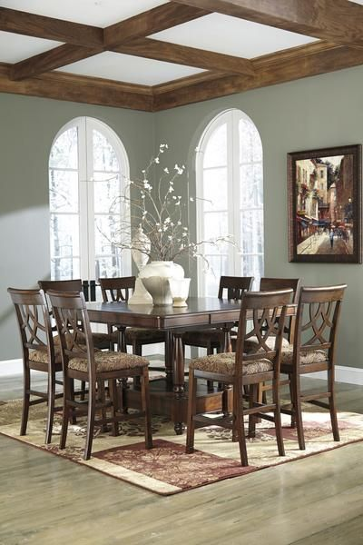 Leahlyn 9pc Counter Height Table Set