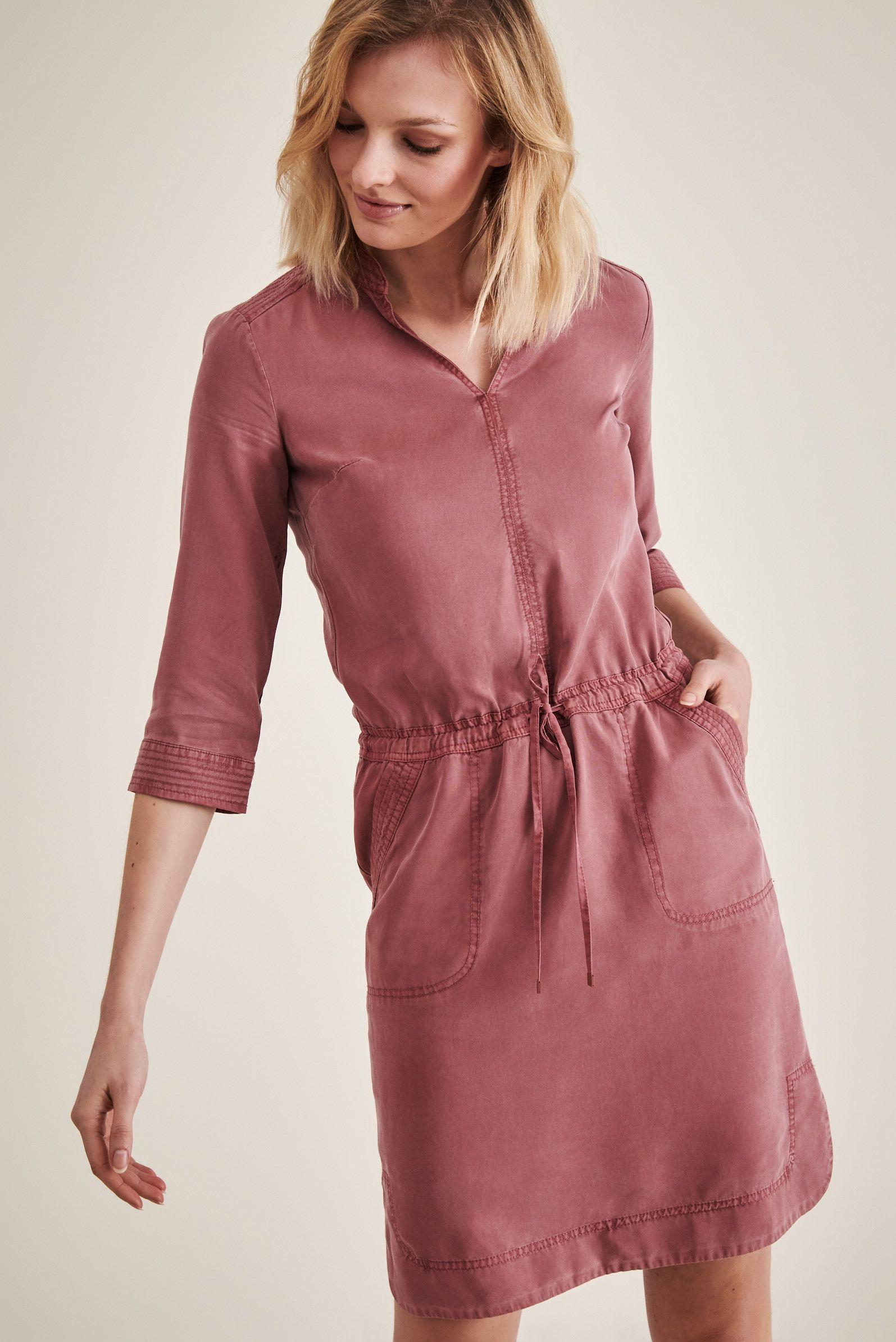 Komira Swobodna Sukienka Z Wiazaniem W Pasie Kolor Rozowy High Neck Dress Fashion Dresses