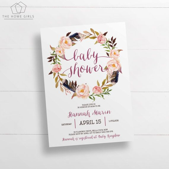 Printable Boho Baby Shower Invitation Template Editable Pdf