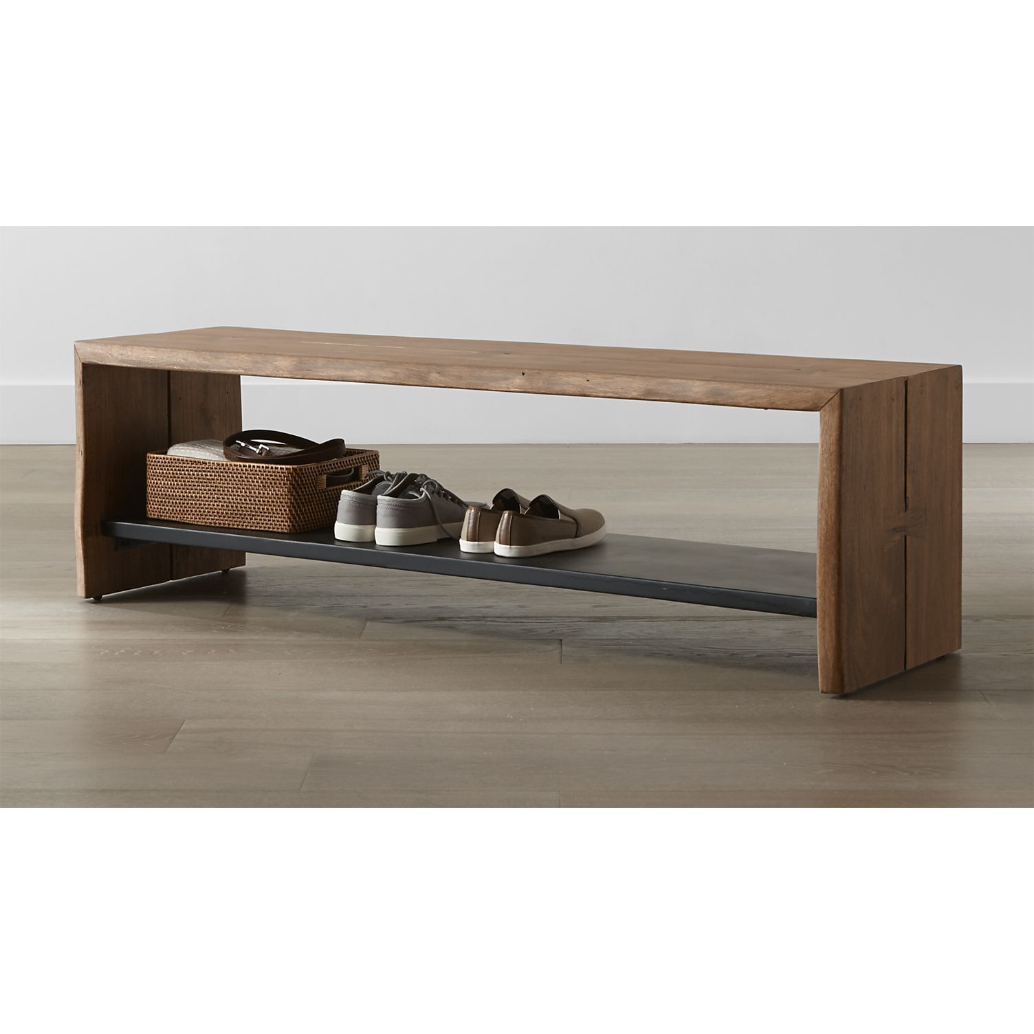 Yukon Natural Entryway Bench with Shelf + Reviews | Crate and Barrel