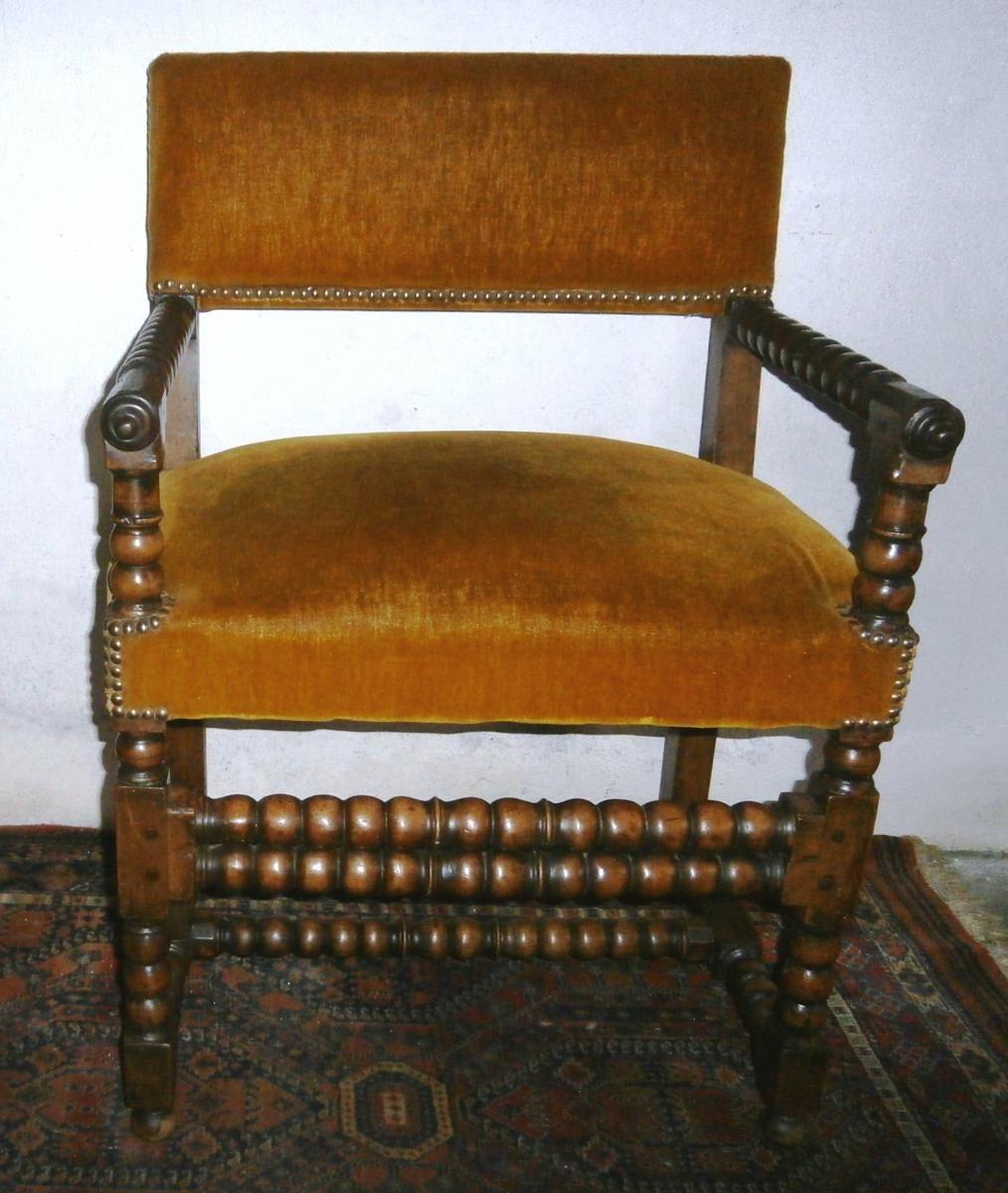 Chaise A Bras Louis Xiii Antiquites Christian Ganneval Proantic Fauteuil Bois Chaise