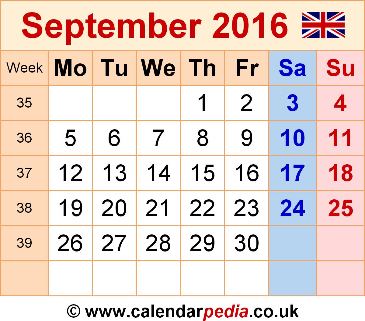 Genial September 2016 Calendar Kalnirnay