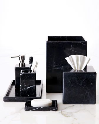 Luna Black Marble Tissue Box Cover