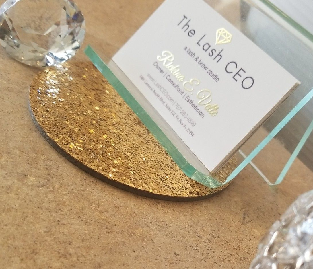 Lash business card gold foil printed by gold