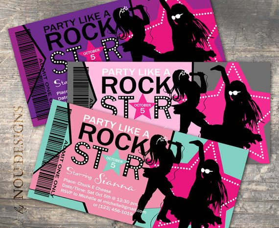 Girl Rock Star Birthday Invitation Card, Thank You Card, VIP Pass, Tent Card, and/or Water Bottle Labels - Printable File #rockstarparty