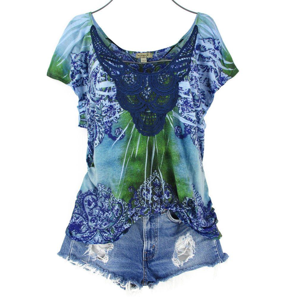 5e77ec52bd2 One World 3X Tunic Top Womens Plus Size Blue Floral Smocked Tee Shirt  Crochet  OneWorld  TShirt  clothes  plussize  plussizefashion  boho   bohochic ...