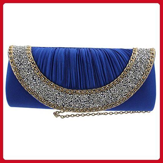 Sasha Womens Satin Pleated Evening Handbag Blue Small - Evening bags (*Amazon Partner-Link)