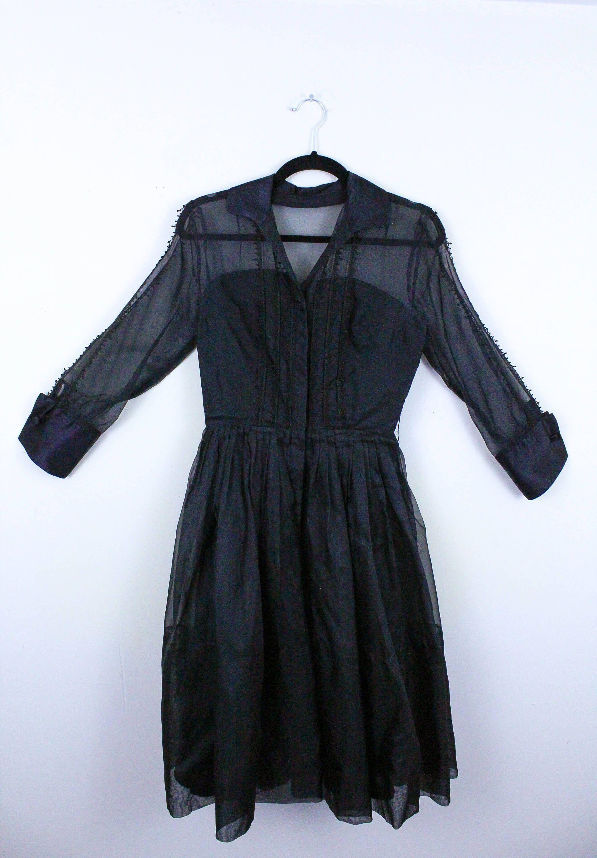 S black long sleeve illusion bust shirtwaisted dress tea