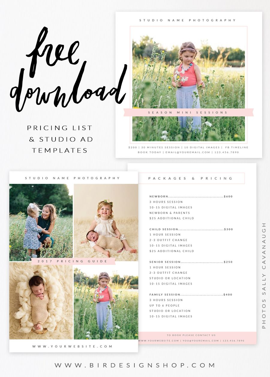 Free pricing list studio ad templates photography lessons tips free photoshop template pricing guide list from bird design shop flashek Image collections