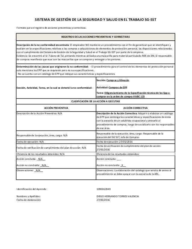 Formato para el registro de acciones preventivas y correctivas. Sección: Compras…