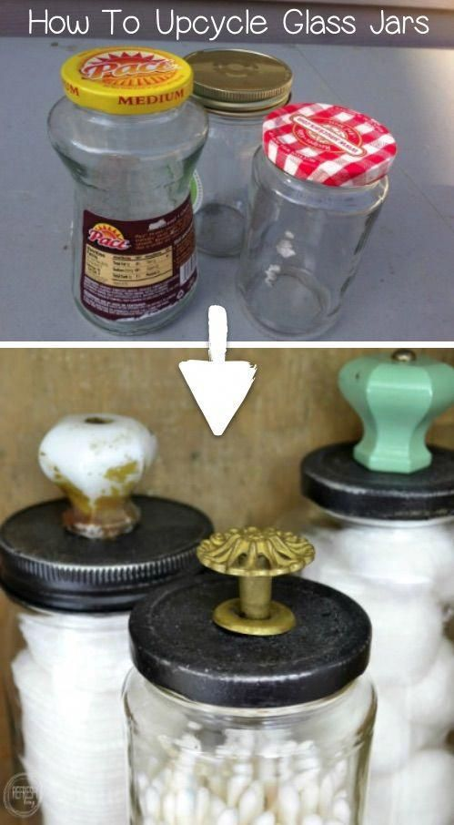 This upcycling craft idea is perfect for storing small items! Recycle your food jars to make beautiful glass jars. So cheap and easy! You could even sell these! Recycled projects and crafts are my favorite. #recycledcraft #recycledproject #recycling #crafts #diy #instrupix #doityourself #homedecor #diyprojects #recycle