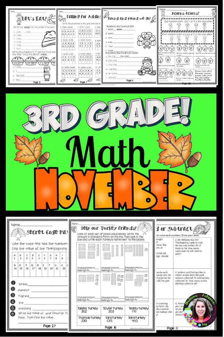 3rd Grade Math for November Worksheets   Digital and Printable   3rd grade  math [ 1102 x 735 Pixel ]
