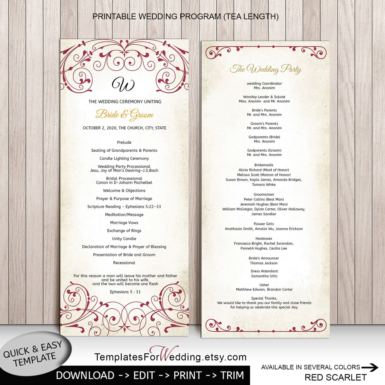 Diy wedding program wedding templateinstant download weddingword