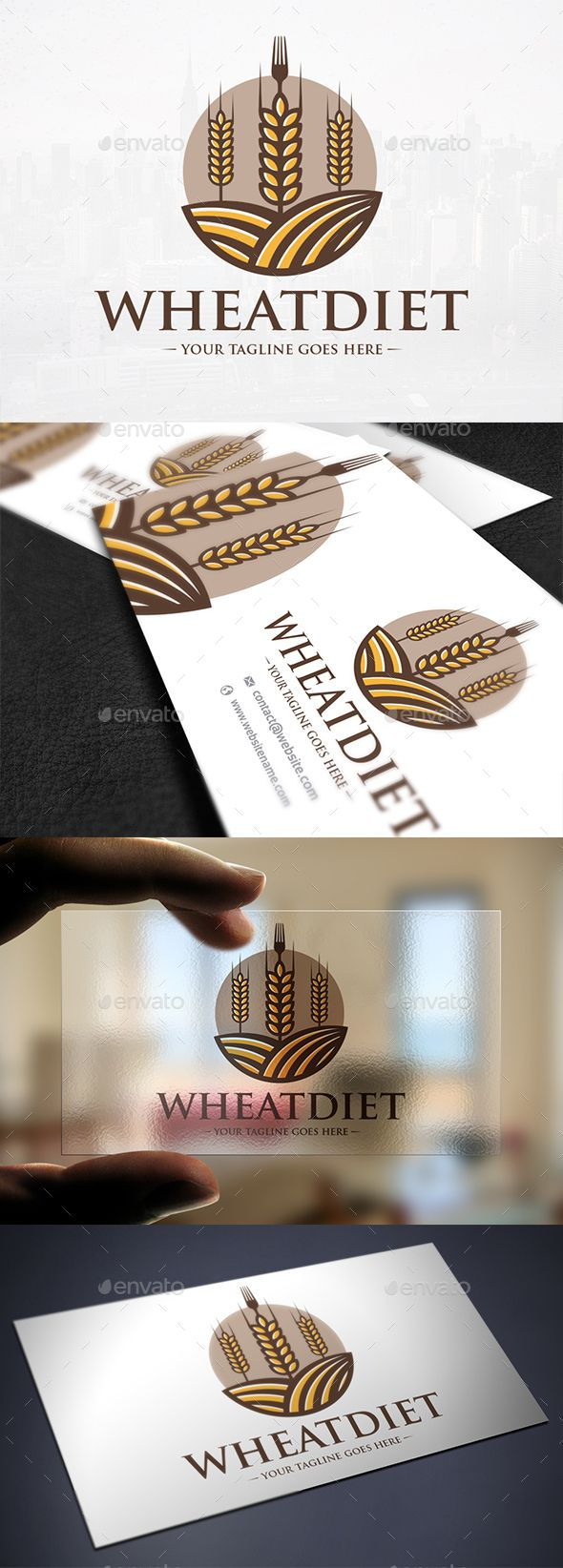 Wheat Diet Logo Template 심볼, 다이어트, 로고