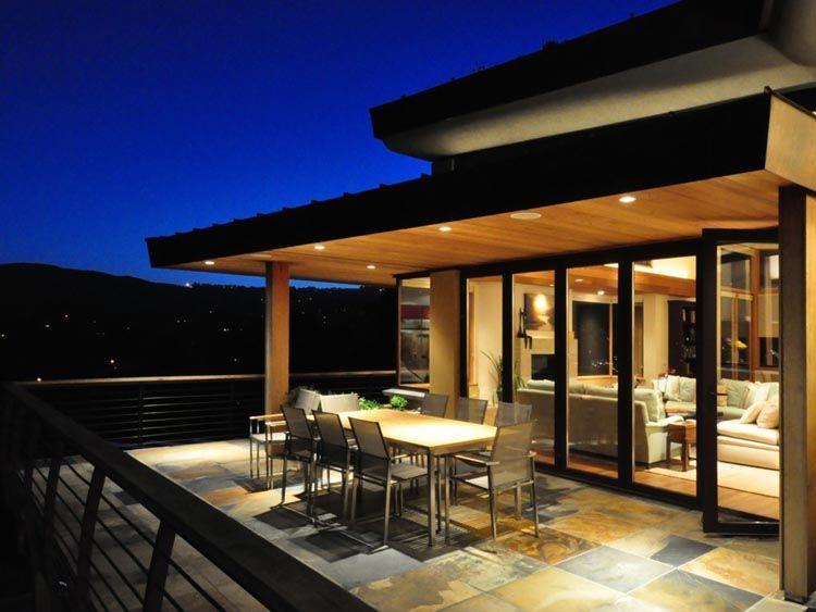 Steep hillside homes deck twilight terrace green roof for Terrace 2nd floor