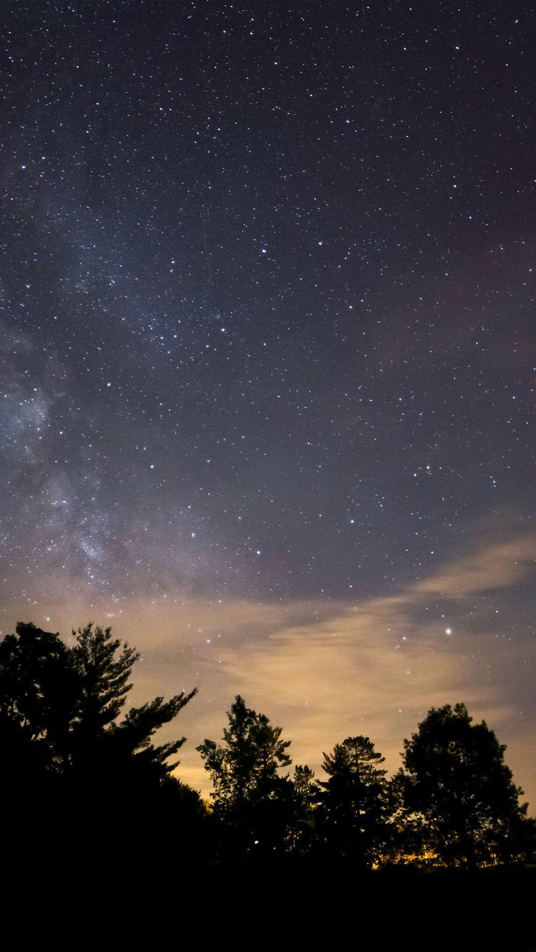 Sky Night Star Dark Mountain Cloud Shadow Iphone 8 Wallpapers
