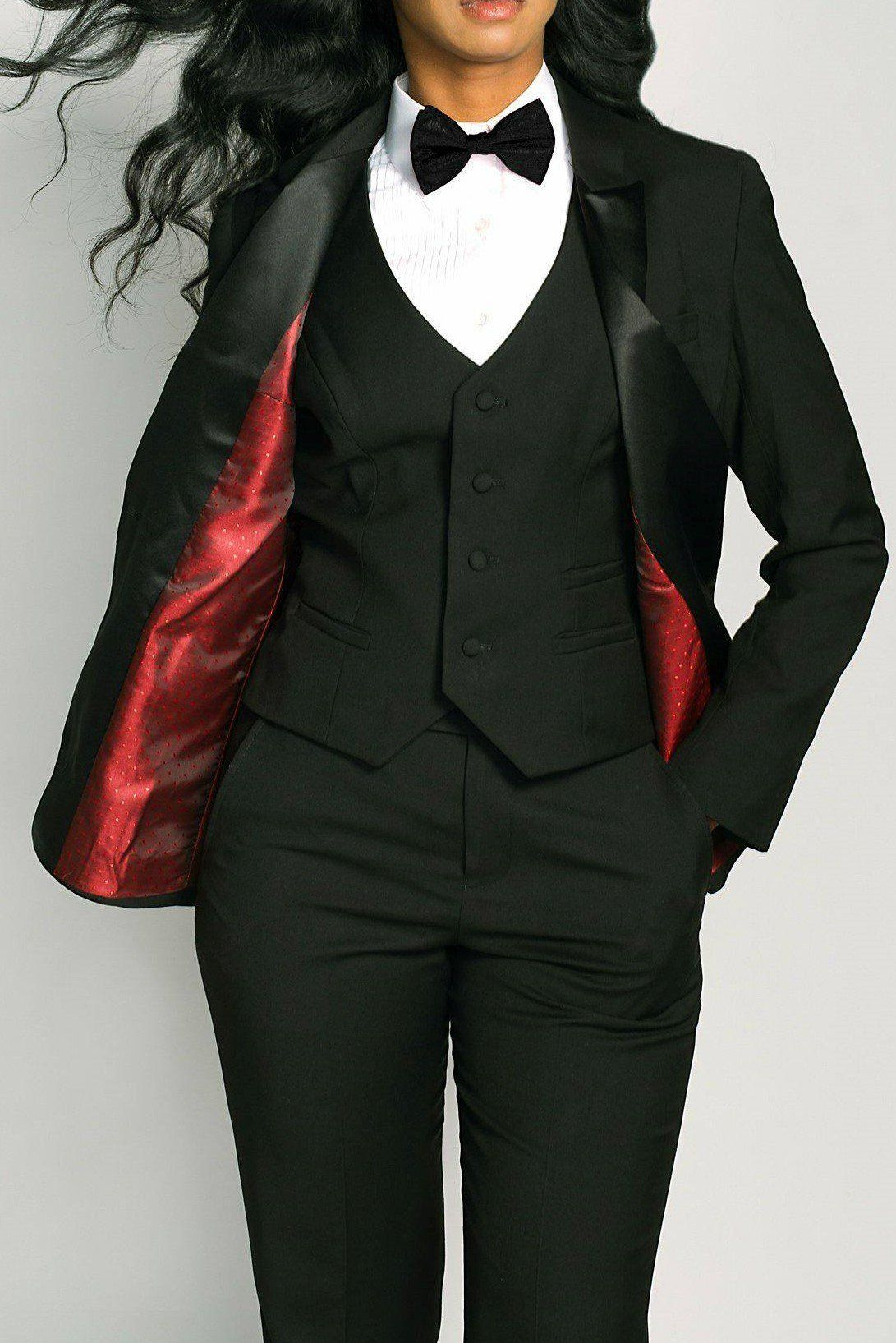 Classic Limited Edition Black Short Peak Lapel Red Lining Tuxedo ... b132c9cebd