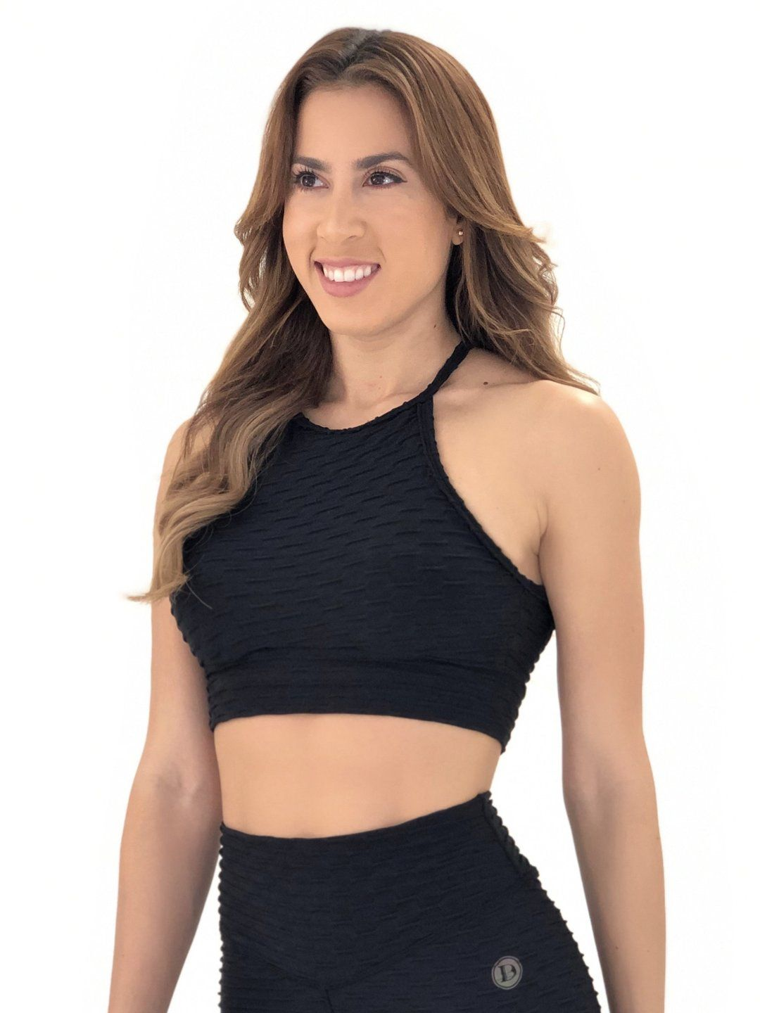 Exposed Sports Bra (Black Glam Texture) in 2020 Sports