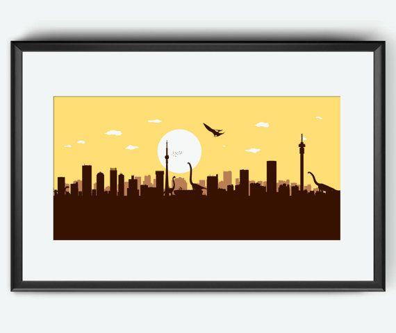 Johannesburg skyline print, Johannesburg art, Johannesburg print, Johannesburg poster, Dinosaurs art, print, poster, Jurassic Park inspired