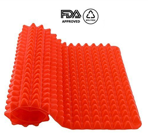 Top Pyramid Pan  16 x 11 inches Large Red Pyramid  Raised Cone Shaped Healthy Silicone Mat for Cooking Baking and Roasting  Superb NonStick Food Grade Silicone  Dishwasher Safe Series >>> Read more reviews of the product by visiting the link on the image.Note:It is affiliate link to Amazon.
