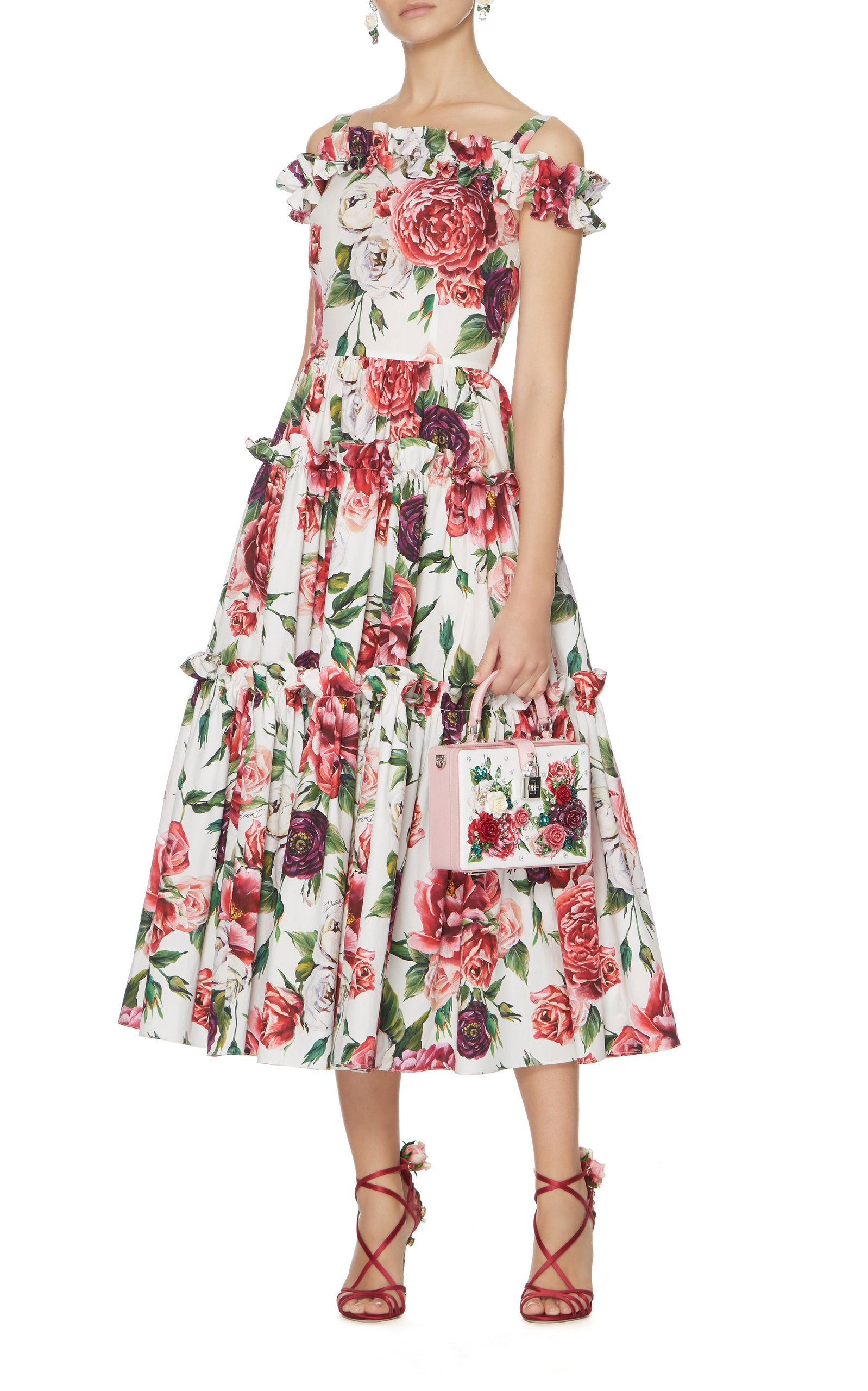 Womens Peony-Print Cotton Off-The-Shoulder Dress Dolce & Gabbana gebdc