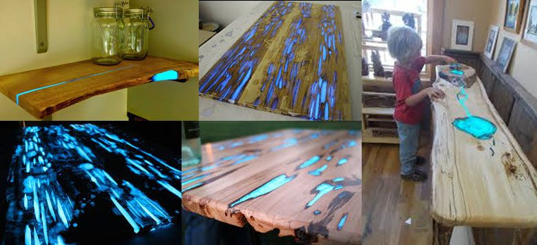 Glow Resin Table Filling The Cracks And Knots Of A Piece