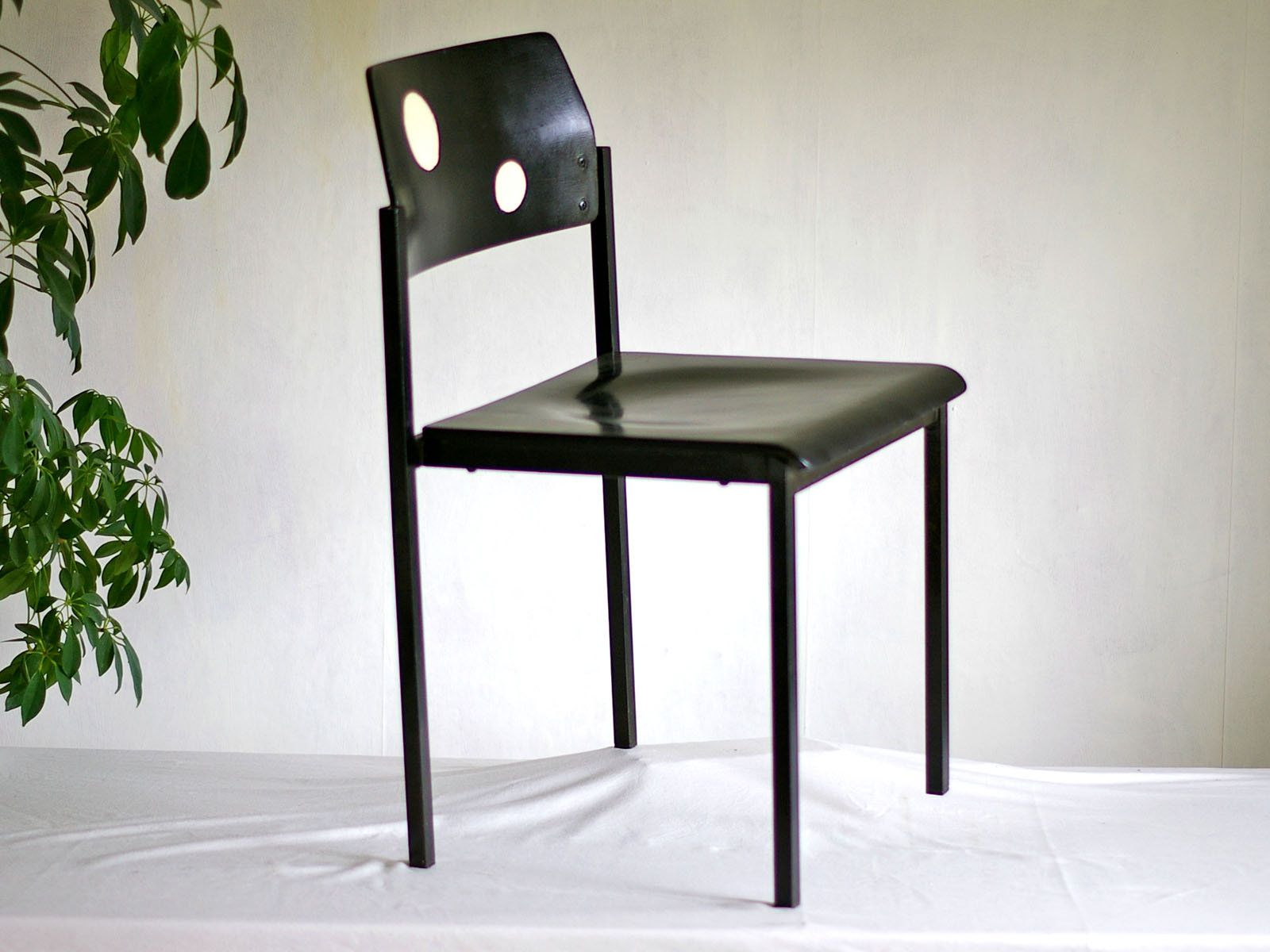 Chair Wooden Chair With Metal Frame Black White Dots Metal Legs