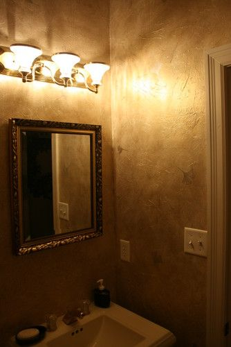 Metallic Glaze Tissue Paper Wall Treatment For Powder Room