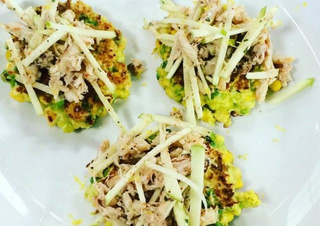 Clodagh McKenna's Recipes | SWEETCORN AND PEA FRITTERS WITH FRESH CRAB AND APPLE SALAD