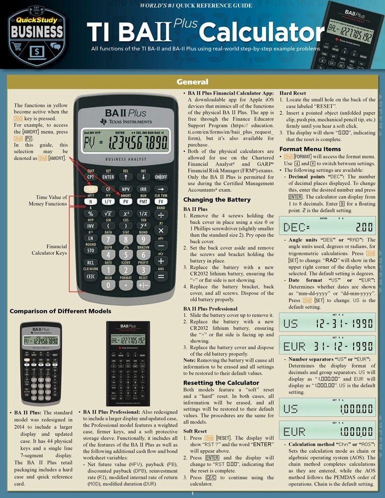 Ti BA II Plus Calculator Laminated Reference Guide