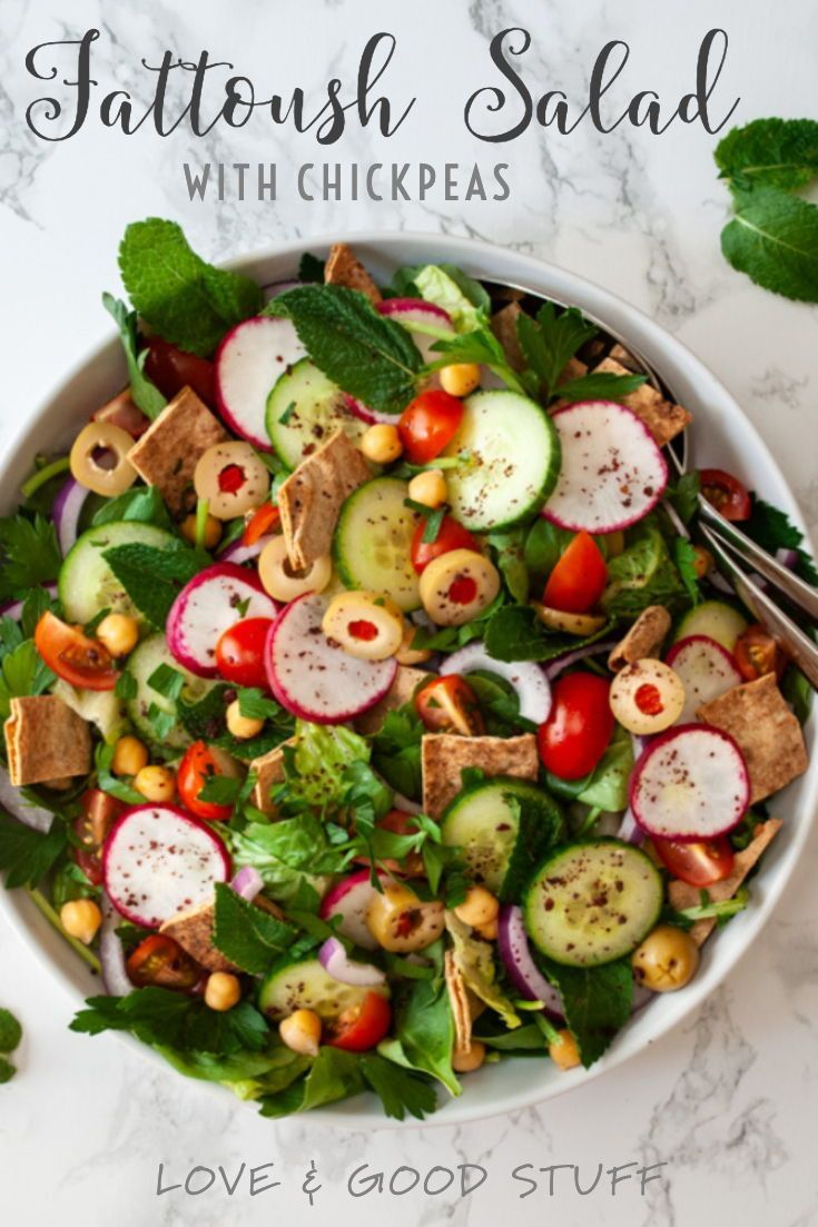 Make authentic fattoush salad a complete meal with the addition of chickpeas for protein! This easy, healthy and flavourful vegan salad is full of fresh cucumber, tomato, radish, olives and toasted pita bread - all topped with a tangy lemon sumac dressing. #fattoushsalad #saladrecipes #veganrecipes #plantbasedrecipes
