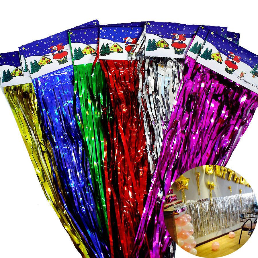 Wedding stage decoration with balloons  Foil Rain Curtain Strips Photo Props Stage Balloons Backdrop Party