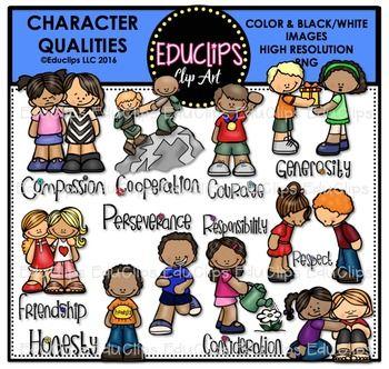character qualities clip art bundle educlips clipart tpt wish