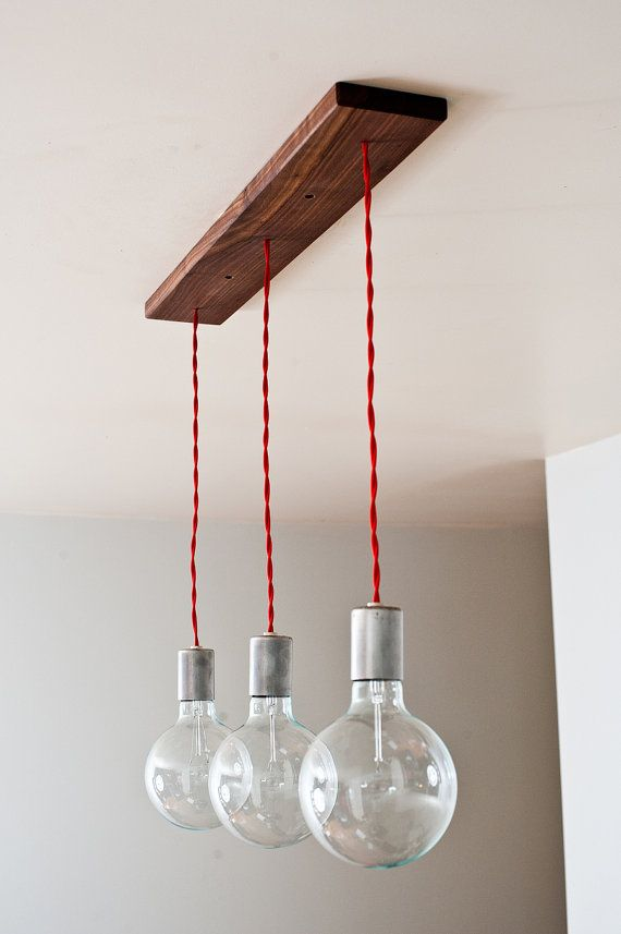 Triple Shot Straight 3 Bulb Hanging Pendants W By Dylangrey Hanging Pendant Lights Lights Wood Pendant Light