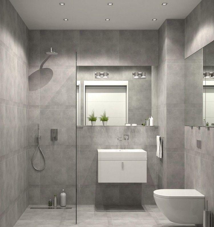 Kleines Bad Einrichten Graue Wand Bodenfliesen Ebenerdige Dusche Glas  Trennwand
