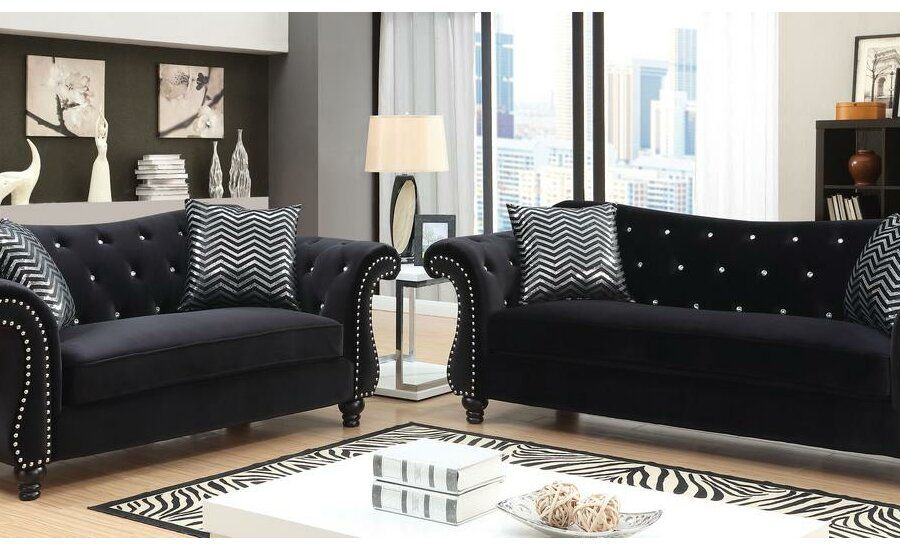 Humansville Loveseat Black Fabric Sofa Fabric Sofa Sofa
