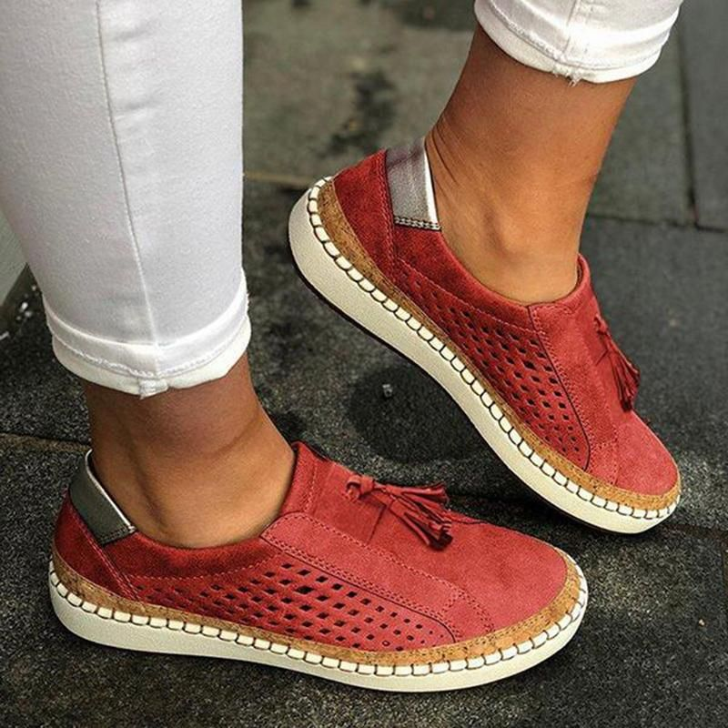 T-JULY Summer Women Casual Flats Loafers Breathable Slip on Casual Shoes