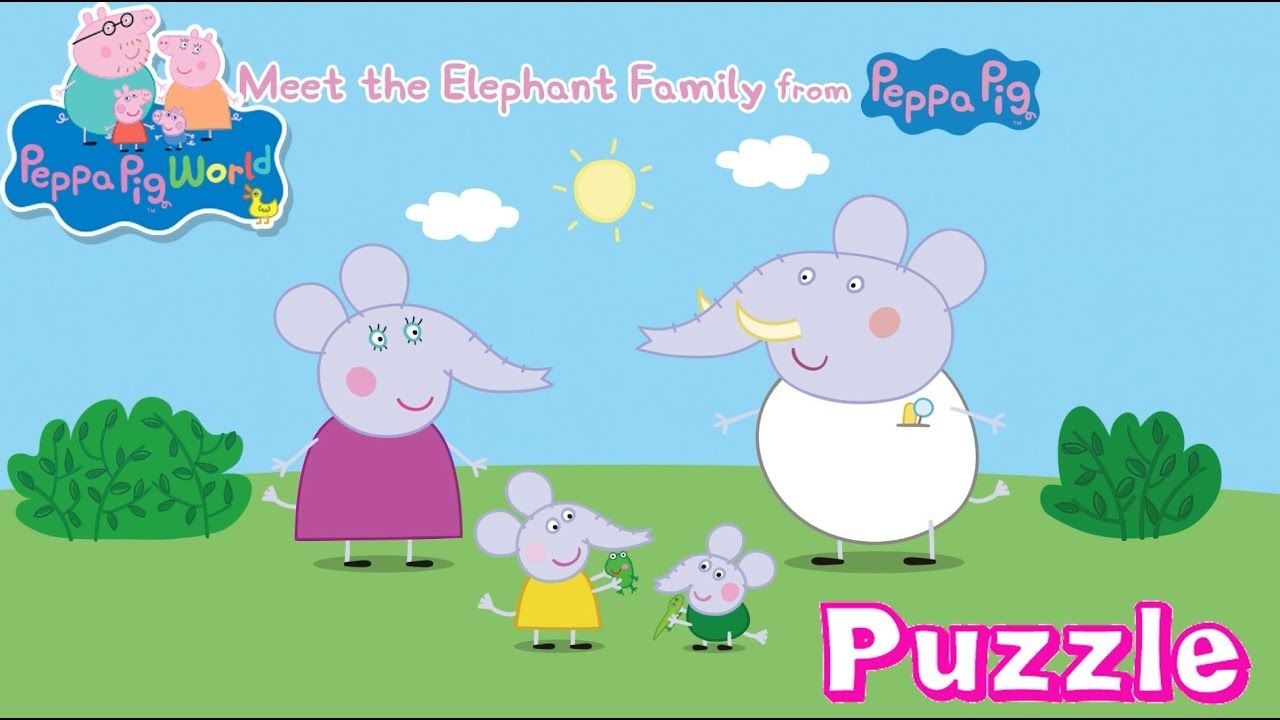 peppa pig meet the elephant family puzzle game for kids