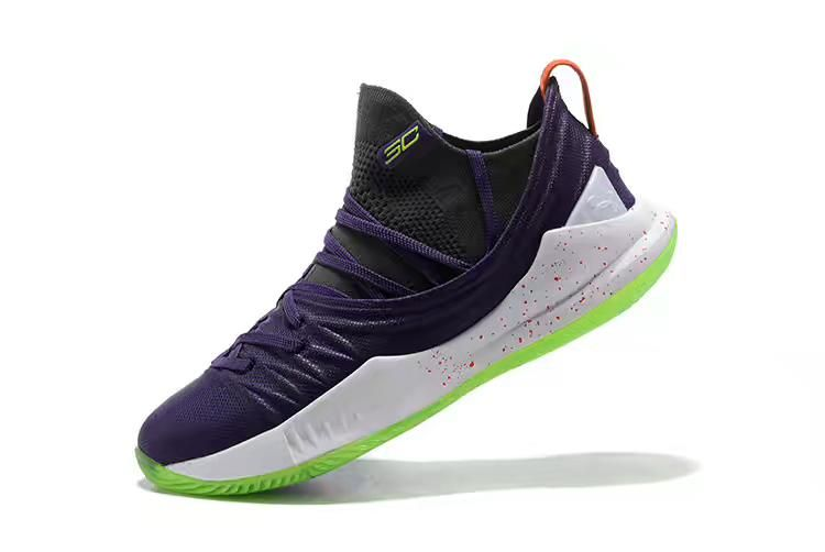 Men s Under Armour Curry 5 Low Purple Black-White-Volt Basketball Shoes de53eaabb