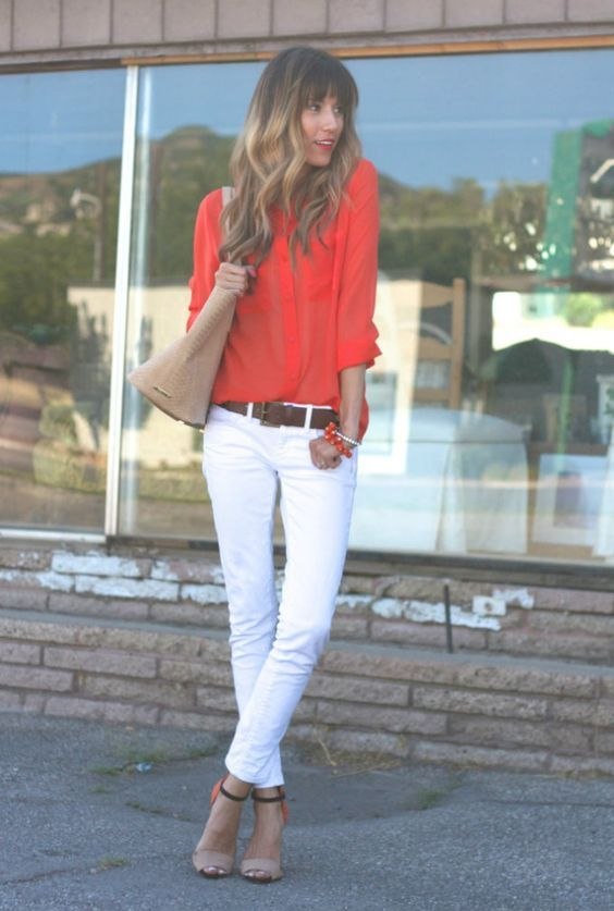 White skinny jeans, color block heels and coral top. Stitch Fix ...