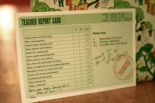 Printable Teacher Report Card With Images Teacher Printable