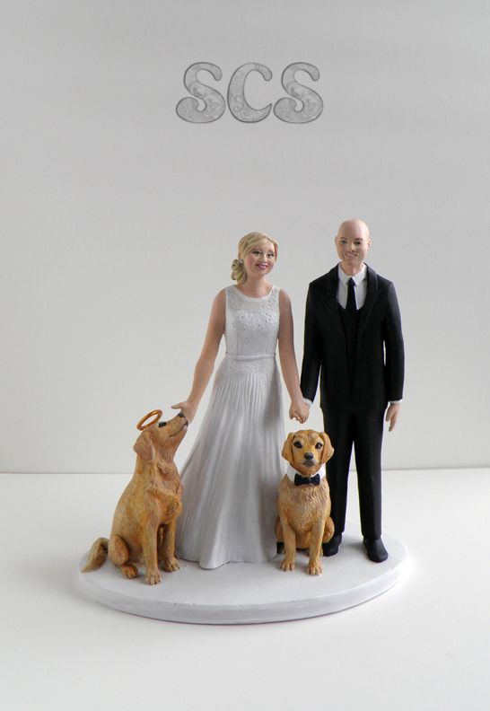 All Dogs Go To Heaven Custom Wedding Cake Toppers By Sophie Cartier Sculpture Go Custom Cake Toppers Custom Wedding Cake Toppers Wedding Cake Toppers Unique