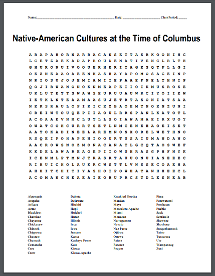 Native-American Cultures at the Time of Columbus Word Search