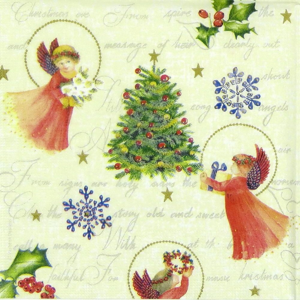 4 x Single Paper Napkins Angels Decoupage Craft and Table 18
