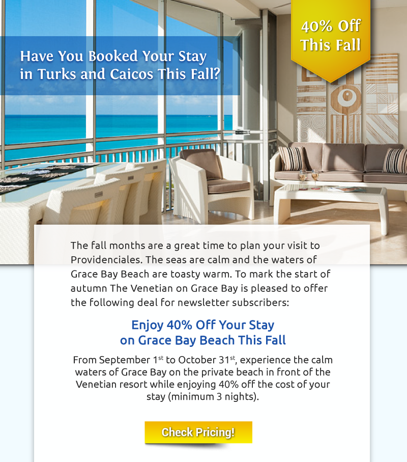 2570b10f952639 The Venetian on Grace Bay is pleased to offer this special deal for our  followers on Pinterest
